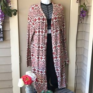 Southwestern style long sleeve open front cardigan